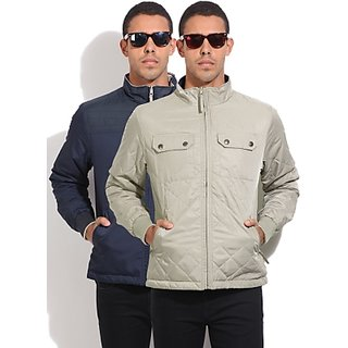Lee Full Sleeve Striped Mens Quilted Jacket SizeS