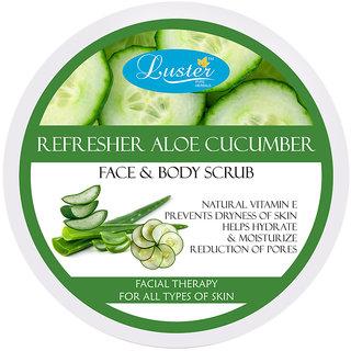 Luster Refresher Aloe Cucumber Exfoliating Face Body Creme Scrub - 400 g
