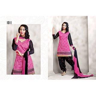 Vardhamaan Chanderi cotton  unstitched Patiala Salwar Kameez Suit.