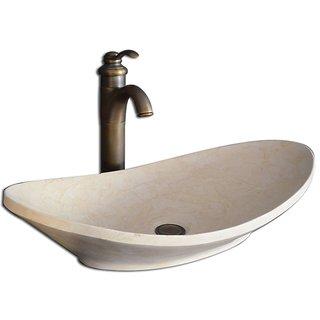 Grazia  Sestones  Sanitary Ware  Stone Art Basin White Size 600x320x130 MM