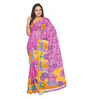 Aaina Pink Faux Georgette Printed Saree (FL-1815-A)