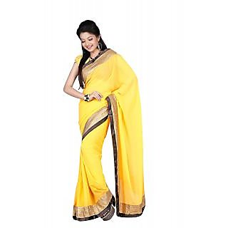 Aaina Yellow Satin Plain Saree With Blouse