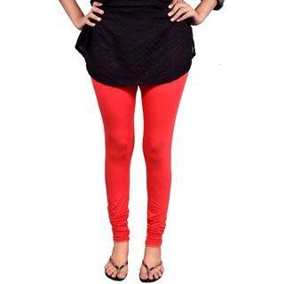 Saanvee Cotton Lycra Girls Red Leggings