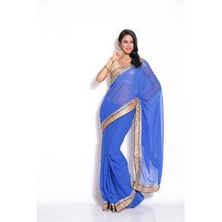 Aaina Blue Chiffon Plain Saree With Blouse