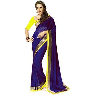 Aaina Purple Chiffon Plain Saree With Blouse