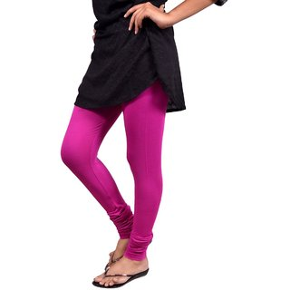 Saanvee Cotton Lycra Girls Pink Leggings
