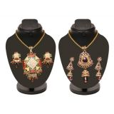 Combo Of Colorful Heavy Pendant Set With Trendy Cz Purple Set D And Y1003