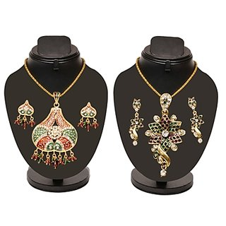 Combo Of Traditional Colorful Heavy Pendant Set With Floral Pendant Set D And Y1004