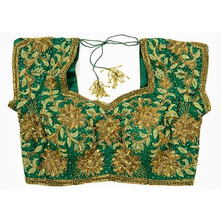 fully embroidery work blouse designer blouses green golden colour ...