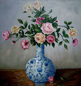Vitalwalls Flowers In Chinese Blue and White Vase Oil Painting