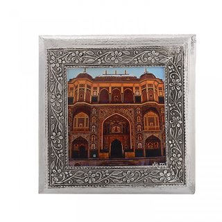 MJR Digital Print Carved White Metal Decorative Dry Fruits Box- Amber Fort