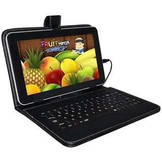 Leather Keyboard Stand Case With Micro USB Cable for 7inch Videocon Tablet VA81