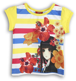 Lilliput Yellow Printed Casual Lilly Flowers T- Shirt (8907264054416)