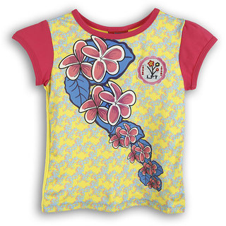 Lilliput Yellow Printed Casual Lilly Bloom T-Shirt (8907264053815)