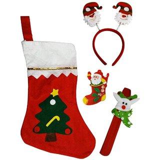 Santa Stocking Santa Hair Band, Wrist Band,Hair Band, LED Light Santa Badge