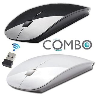 Buy 1 Get 1 Free White Black 2.4ghz Ultra Slim Wireless Optical Mouse