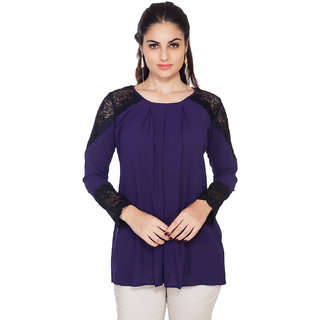 Soie Ink Blue Lace Full Sleeve Top