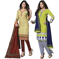 Drapes Pink And Brown Dupion Silk Lace Salwar Suit Dress Material (Pack of 2) (Unstitched)