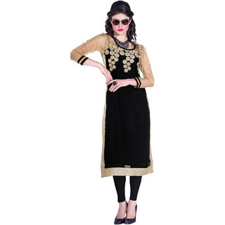 RapidDukan Ready To Wear Black color Embroidered KurtiHeer01
