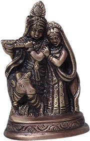 Brass Statue Of Lord Krishna With Radha (Aes23)