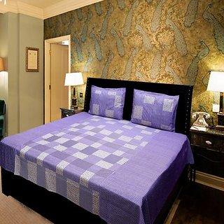 Akash Ganga Purple Pure Cotton Double Bedsheet (KMN567)