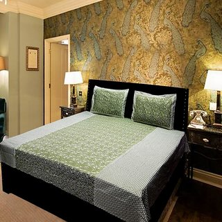 Akash Ganga Green Pure Cotton Double Bedsheet (KMN571)