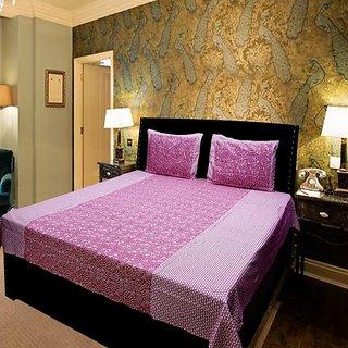 Akash Ganga Pink Cotton Double Bedsheet (KMN573)