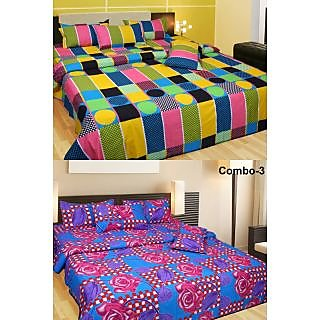 Akash Ganga Combo of 2 Cotton Double Bedsheets (COMBO BS5)