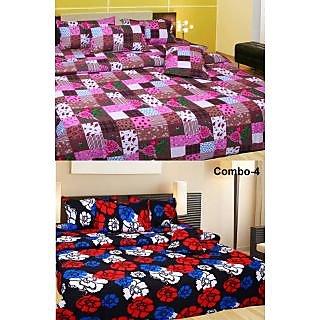 Akash Ganga Combo of 2 Cotton Double Bedsheets (COMBO BS6)
