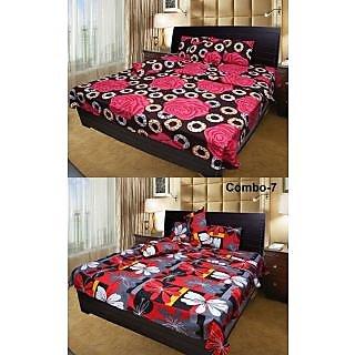 Akash Ganga Combo of 2 Cotton Double Bedsheets (COMBO BS7)