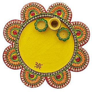 Wood And Papier Mache Flower Shape Matki Pooja Thali