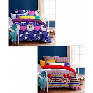 K Decor Set of 2 Bedsheet with 4 pillow Covers (Buy 1 Get 1 Free)