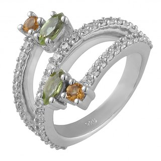 Allure Jewellery 925 Sterling Silver ring studded with citrine, peridot and cz