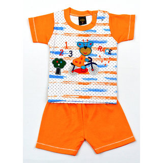 SVS Kids Boys Sleeveless Cotton Orange T-Shirt With Bottom Set
