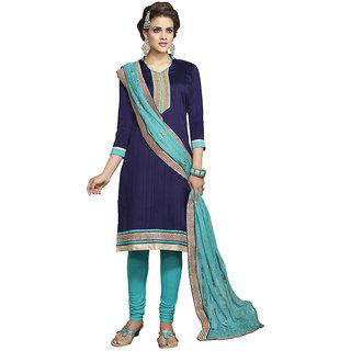 Parisha Black Polycotton Embroidered Salwar Suit Dress Material (Unstitched)