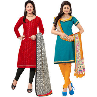 Parisha Black And Orange Polycotton Embroidered Salwar Suit Dress Material (Pack of 2) (Unstitched)