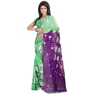 Fabdeal Green Colored Weightless Printed Saree