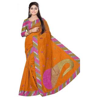 Fabdeal Orange Colored Cotton Embroidered Saree