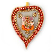 Handicraft White Marble Gold Painted Lord Ganesha Idol On Leaf In Marble
