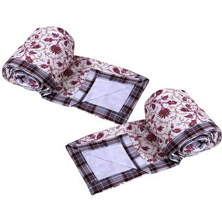 Indiweaves Cotton Dohar/Ac Blanket Set For Single Bed - 2 Pieces- Maroon (90425-IW-SB)