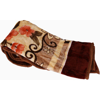 Indiweaves Polyester Super Comfort Winter Special Cream and Brown Single Bed Quilt (91579-IW-SB)