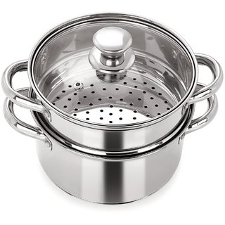 PRISTINE Multipurpose Induction Base 2 Tier Steamer with Glass Lid, 18 cm