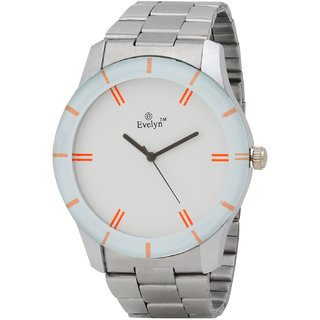 Evelyn Quartz Analog White Round Dial Men's Watch SLW-276