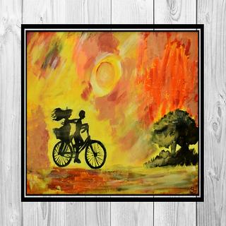 Suman Bhandari Childhood ties acrylic painting reprint on canvas