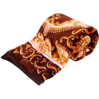 Indiweaves Polyester Super Comfort Winter Special Brown Single Bed Quilt (91530-IW-SB)