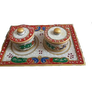 Akash Creation Marble Try  Two Pot Set