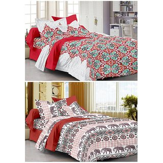 Story@Home 120 TC Set Of 2 Double Bedsheet With 4 Pillow Cover(CN1260-1266)