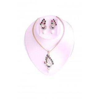Fashion Women Rhinestone Pendant Chain Necklace Earrings Jewelry Set