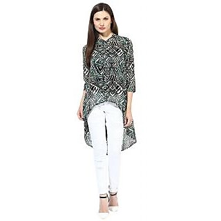 Harpa Green Printed 3/4 Sleeve Womens Top