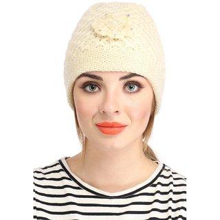 Peach / Yellow Colour Woolen Cap for Ladies